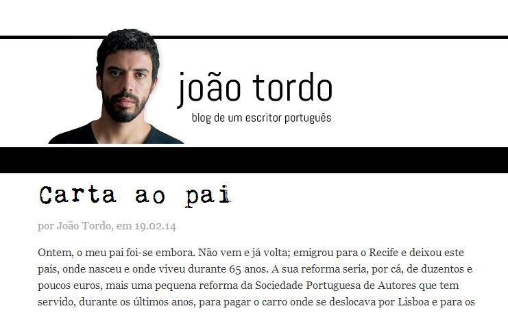 'Carta ao pai' por João Tordo